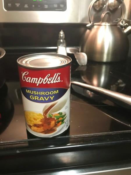 A can of mushroom gravy.