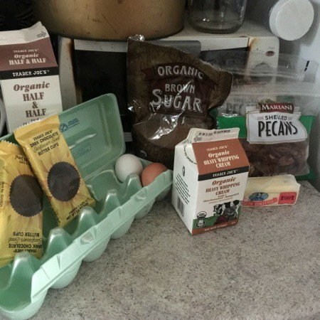 Ingredients for butter pecan ice cream.