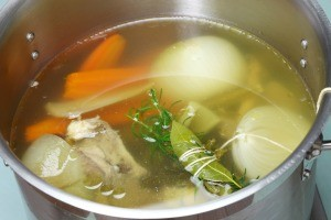 Making chicken broth from rotisserie chicken.