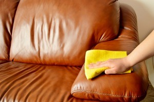 Cleaning a leather sofa with a cloth.