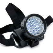 A battery operated headlamp.