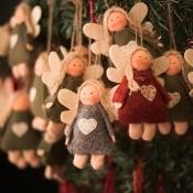 Handmade angel ornaments for sale.