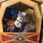 A Cabbage Patch doll and a stuffed horse in a box.