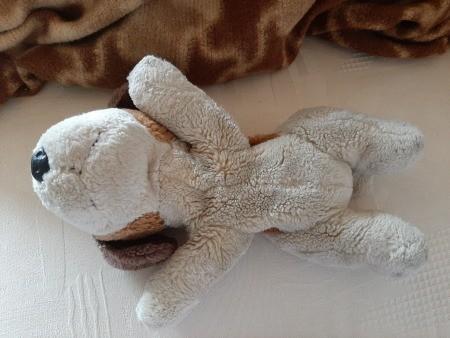 A stuffed dog on its side.