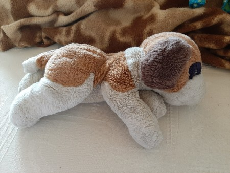 The back of stuffed dog.