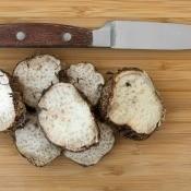 Cut up malanga tubers.