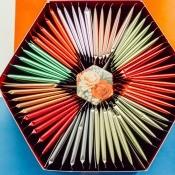 Tea displayed in a hexagonal gift box.