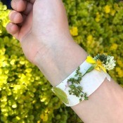 Nature Collection Bracelets - tape on wrist covered with flowers and leaves