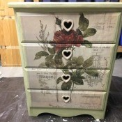 Decalicious Dresser Makeover - painted three drawer dresser with large rose decal.