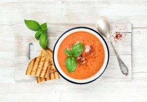 A bowl of summer gazpacho.
