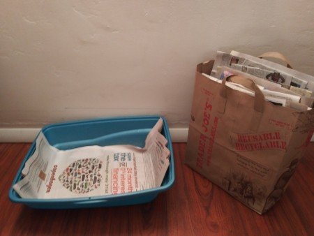 A cat box lined with newspaper.