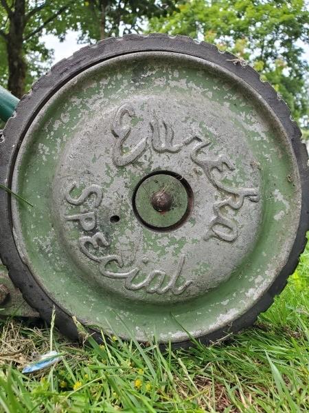 A Eureka Special lawn mower wheel.