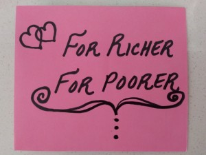 """A card that says """"For Richer, For Poorer"""" on pink paper"""