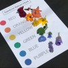 Rainbow Nature Hunt - printout of the rainbow colors with cut flowers matching each color