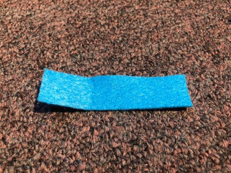 DIY Ear Saver and Mask Extender - rectangle of blue felt