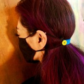 DIY Ear Saver and Mask Extender - view of extender from the side of her head