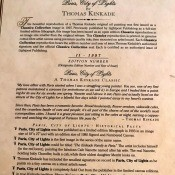 A certificate of authenticity from Thomas Kinkade.