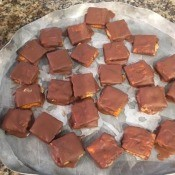 The butterfinger bites on a tray.