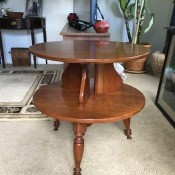 Value of a Brandt Table? - two tier, round, medium finish wooden table