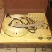 An open portable record player