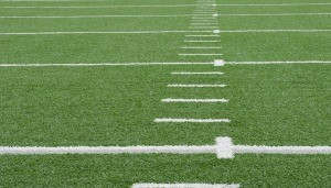 The white lines on a football field.