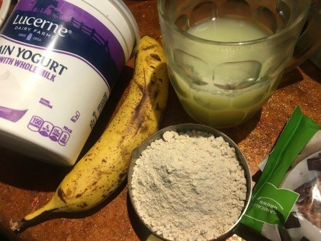 Ingredients for chocolate chip banana protein muffins.