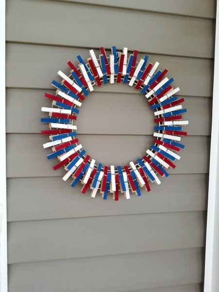 Seasonal Clothespin Wreaths - red, white, and blue wreath