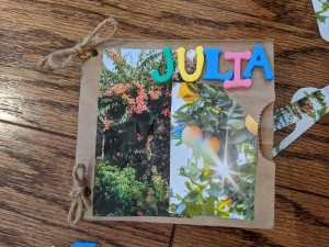 A completed paper bag nature journal with Collection Pockets