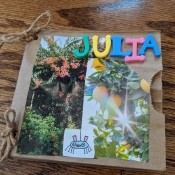 Paper Bag Nature Journal with Collection Pockets -finished nature journal with magazine photos and child's name