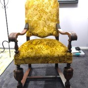 Identifying Antique Chairs? - antique armed dining chair with gold upholstery