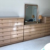 Value of Vintage Bedroom Furniture? - dresser and chests of drawers lined up against one wall