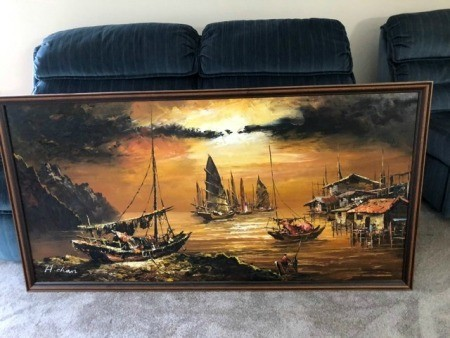 A painting of boats in a harbor in Asia.