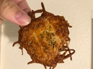 A finished cheese crisp.