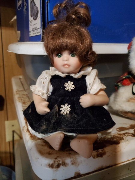 Little doll wearying a black dress with pink flowers and sleeves.