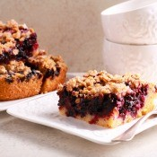 A piece of blueberry coffee cake.