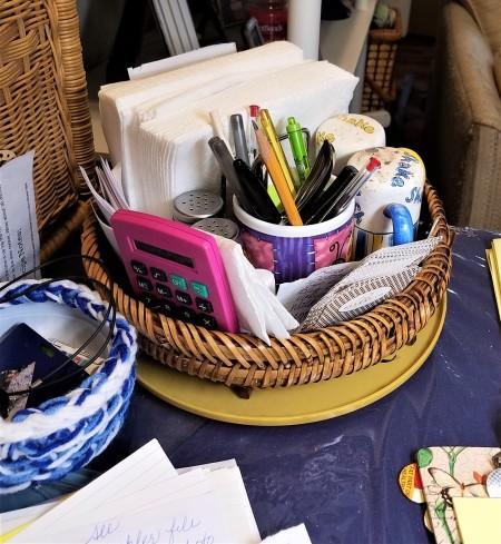 DIY Lazy Susan Organizer - original overcrowded basket