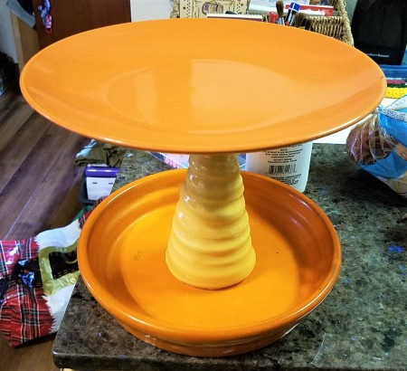 DIY Lazy Susan Organizer -cleaned plate tower