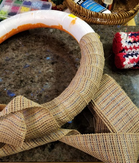 Simple and Fun Burlap Wrapped Country Wreath - a few wrinkles, use narrower burlap