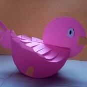 Rocking Paper Bird - finished pink paper rocking bird