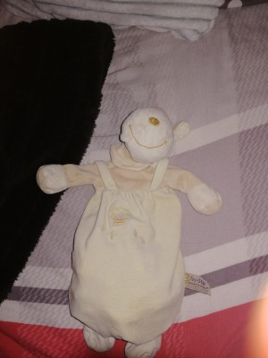 An old plush toy wearing overalls.