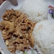 Finished tuna sisig, served with rice.