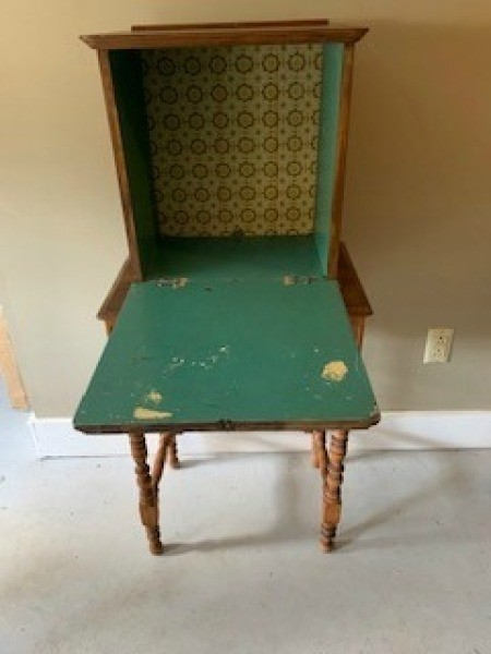 Inside of Antique Imperial Telephone Table