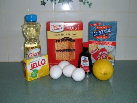 Ingredients for lemon Jell-O pound cake.