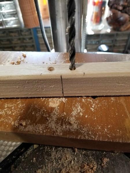 Faux Antique Window Shelf - drilling holes for dowels