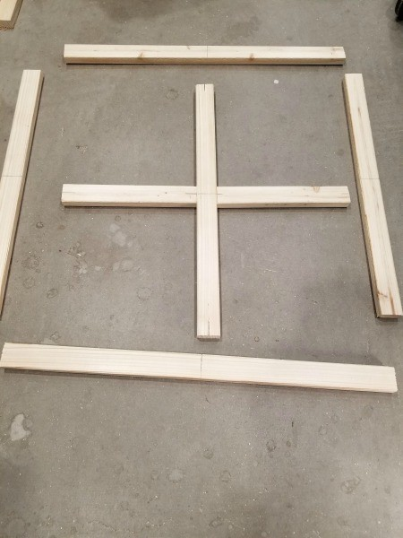 Faux Antique Window Shelf - wood cut for the frame