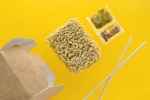 Ramen noodles and seasoning packets.
