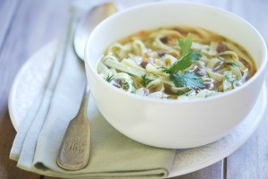 A bowl of homemade turkey noodle soup.