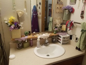 No More Messy Bathroom Shelf - finished bathroom counter makeover