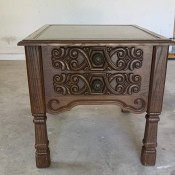 Value of a Mersman Leather Top Side Table? - medium finish leather topped table with carved front