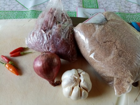 Ingredients for sweet and spicy shrimp paste.